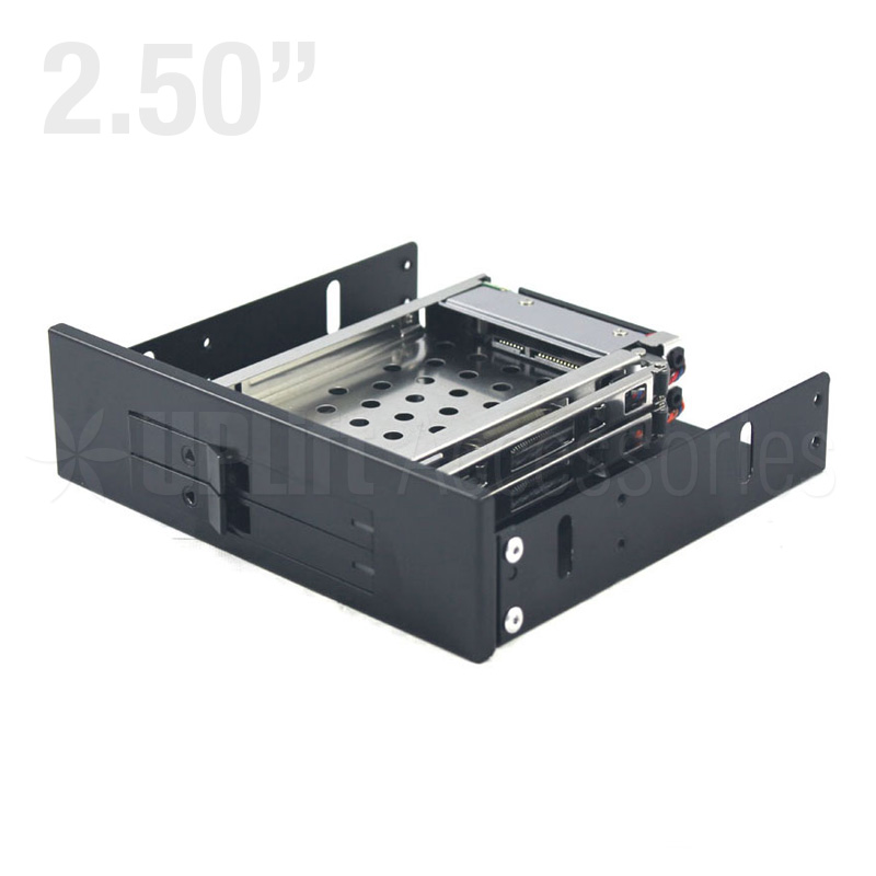 "Mobile Rack Dual 2.5"" SSD/HDD with SATA Cable for 5.25"" Bay Trayless"