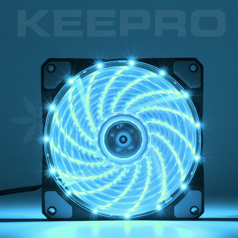 KEEPRO CPU Case Silent Fan 15LED Cyan Blue 12V (120mm)