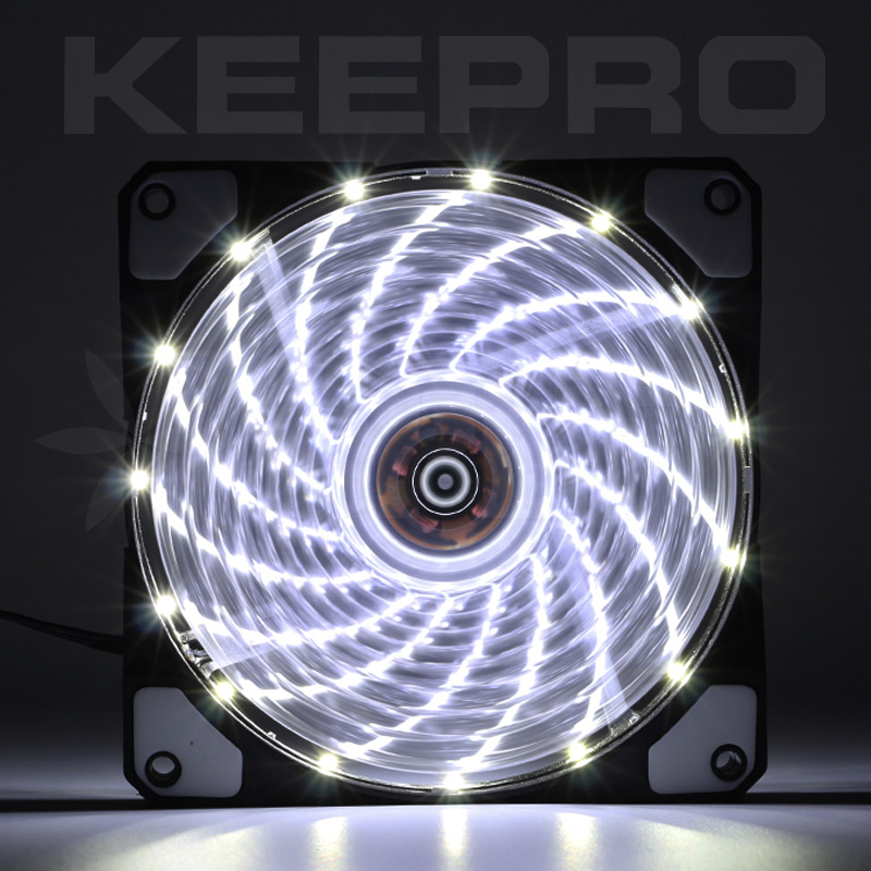KEEPRO CPU Case Silent Fan 15LED White 12V (120mm)