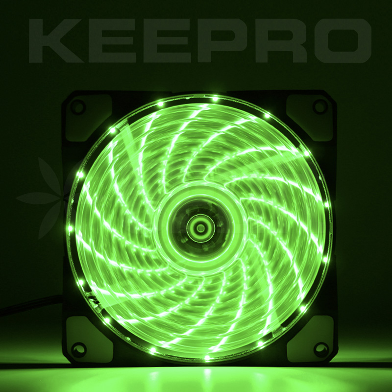 KEEPRO CPU Case Silent Fan 15LED Green 12V (120mm)