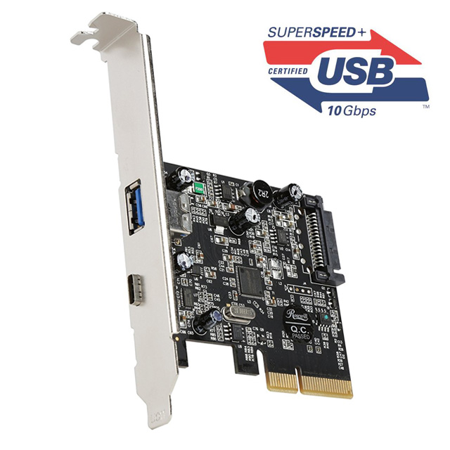 USB 3.1 Type-C + Type-A 10Gbps Expansion Card 2-Port (PCI-E x4)